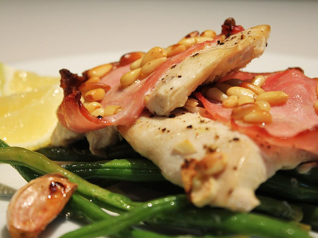 Baked Fish with Bacon & Pine Nuts