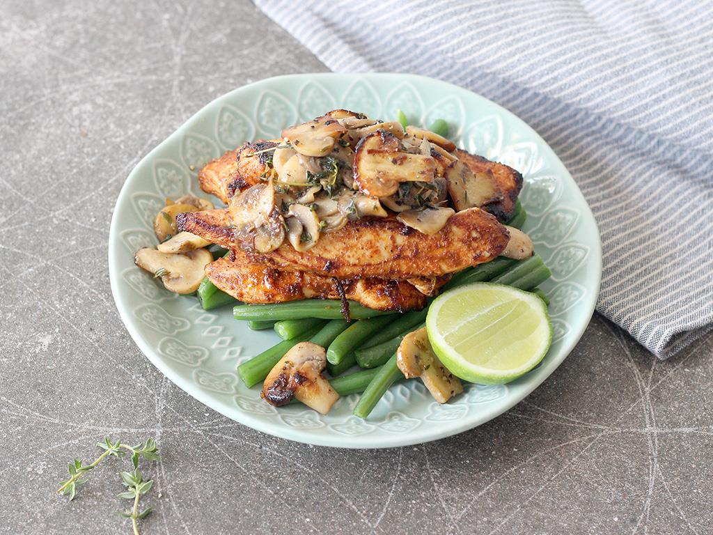 Paprika & Lime Chicken with Garlic Mushrooms