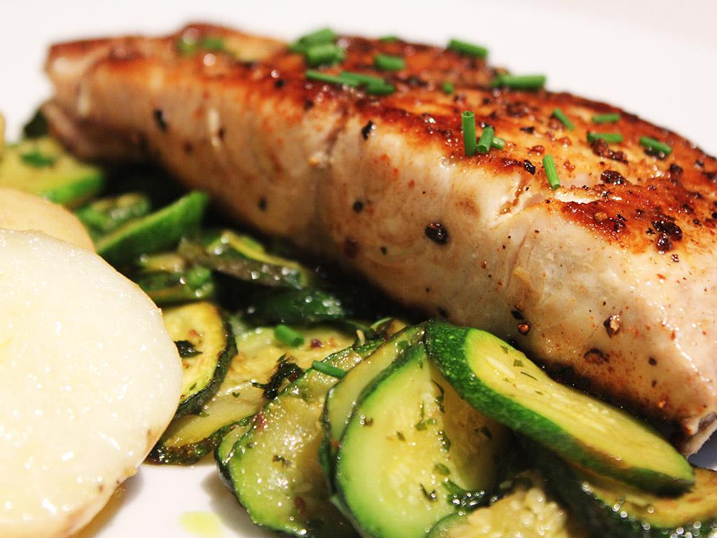 Yellowtail with Herby Courgettes