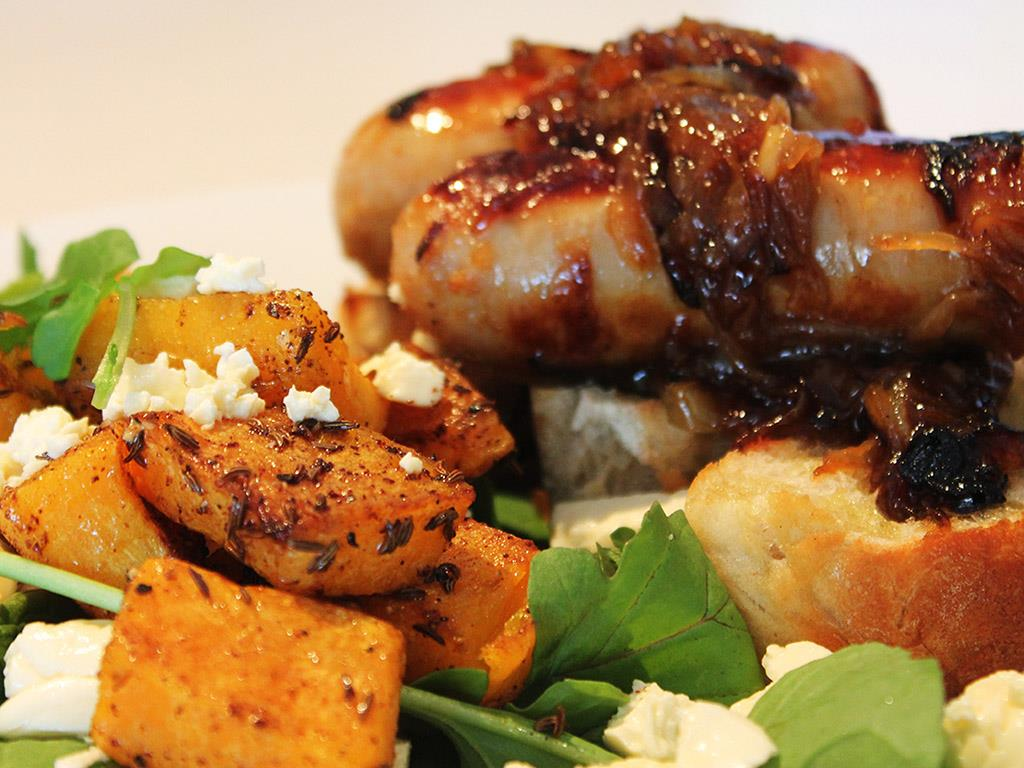 Sausages with Butternut & Feta Salad