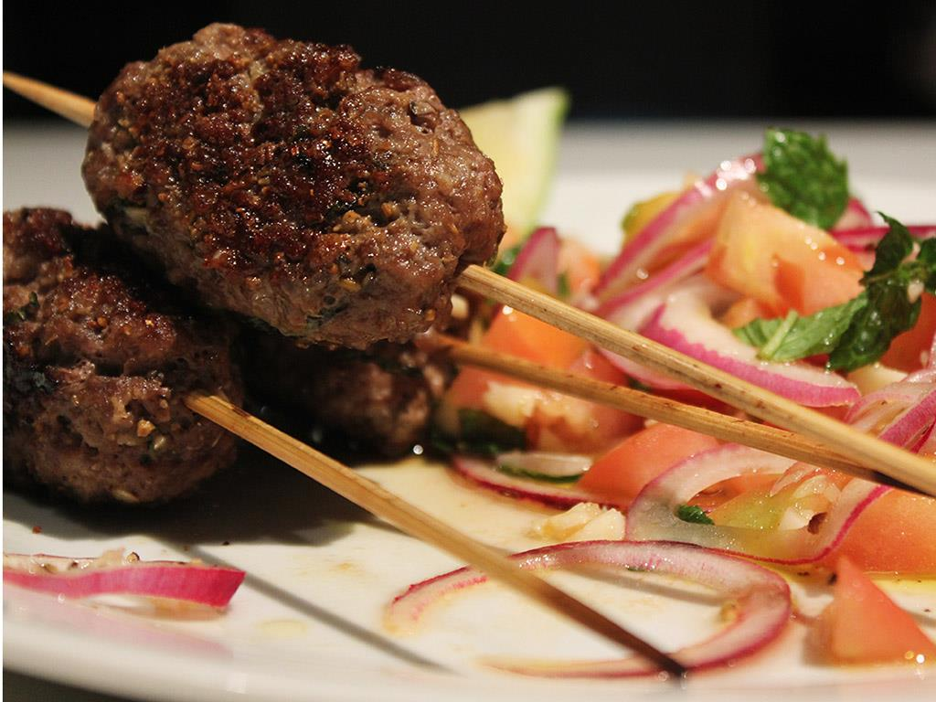 Lamb Koftas with Tomato Salad