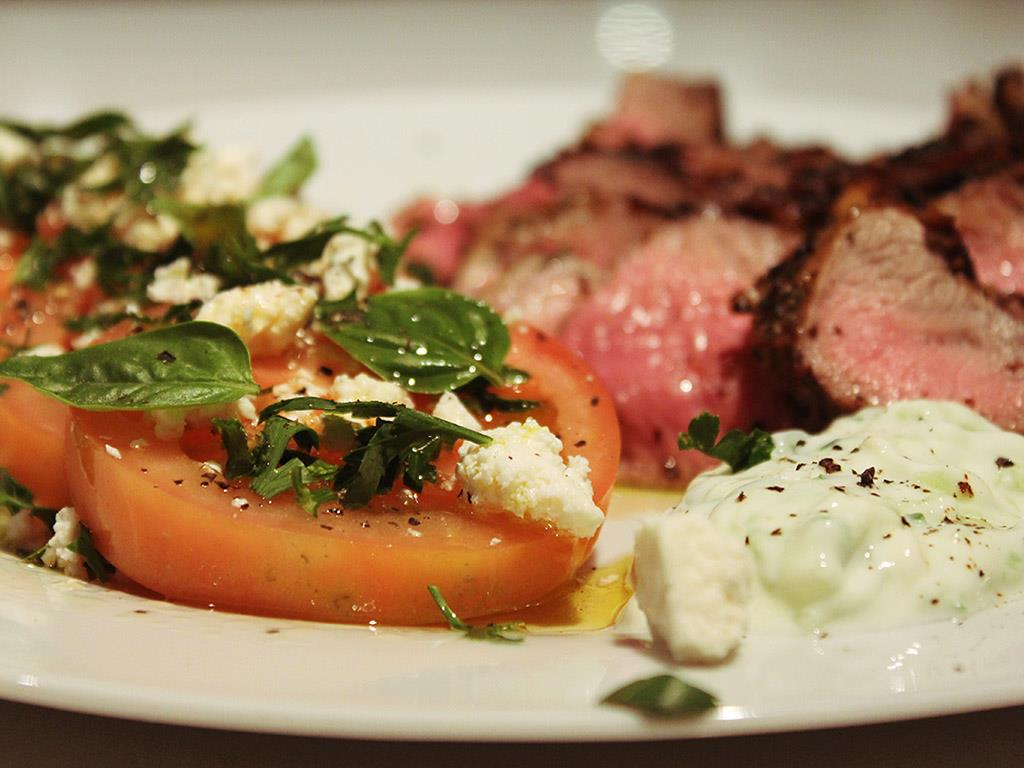 Pan Roasted Lamb Steaks with Tomato Salad