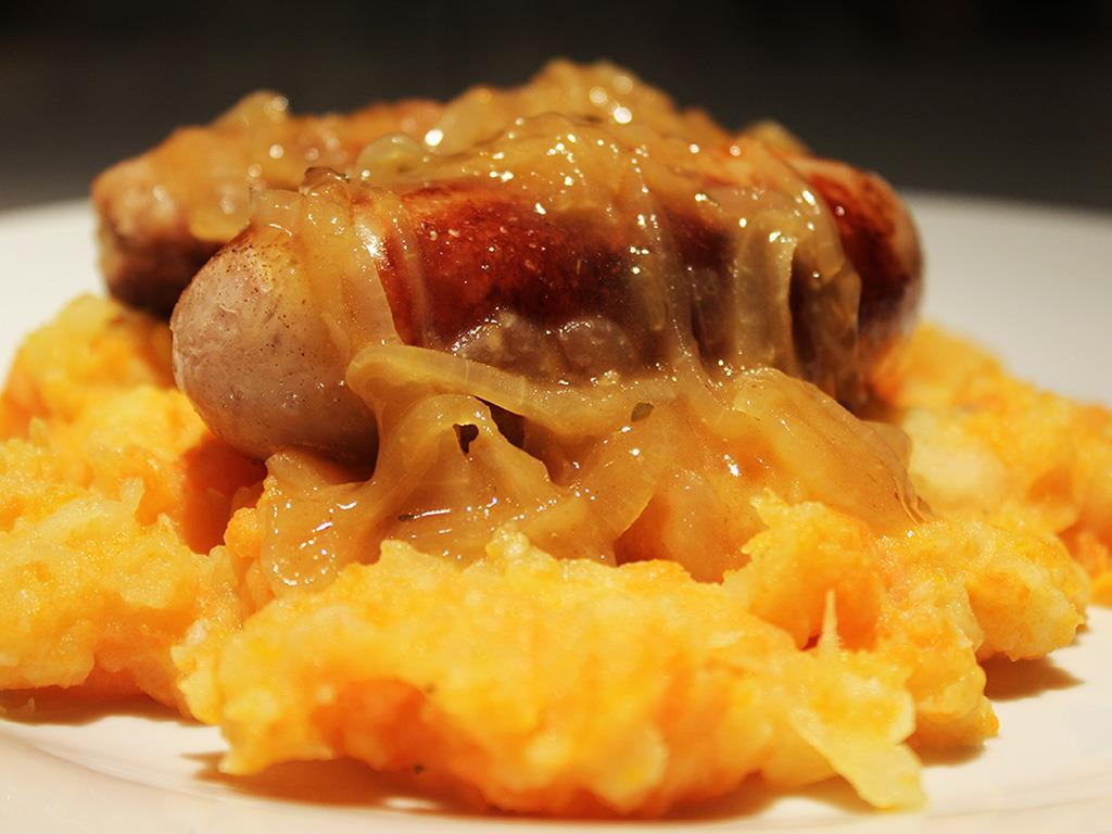 Sausages with Apple & Carrot Mash
