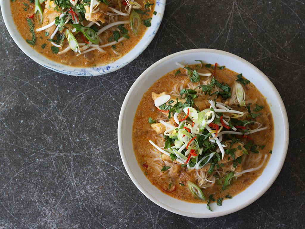 Thai Red Curry Chicken Broth with Noodles