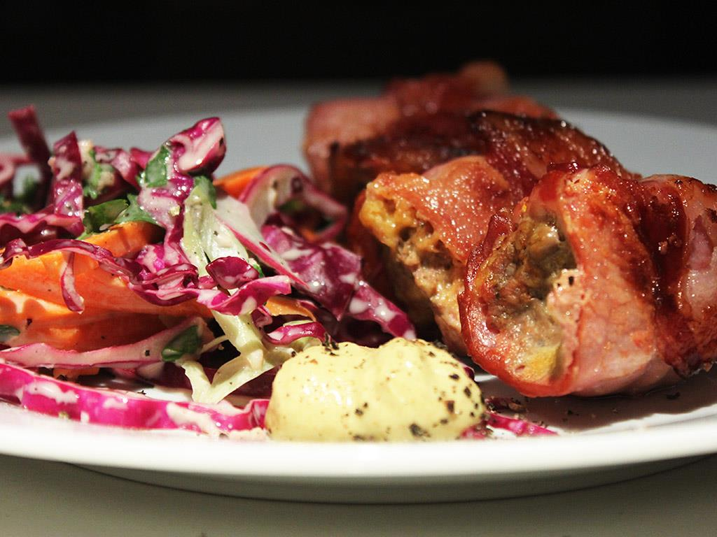 Bacon Beef Rolls & Tangy Red Cabbage Slaw