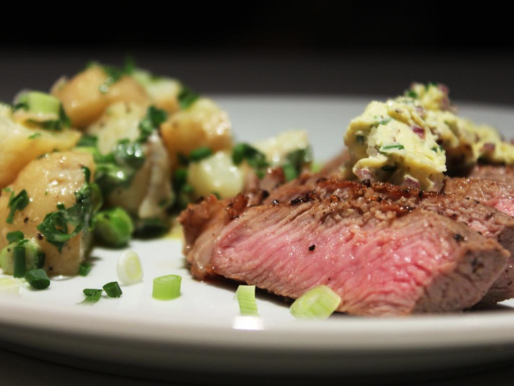 Steak with Garlic Chive Butter