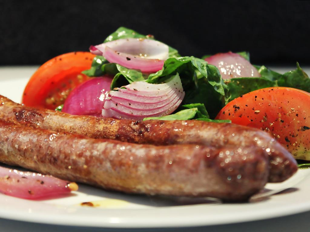 Solo: Warm Tomato & Onion Salad with Beef Sausages