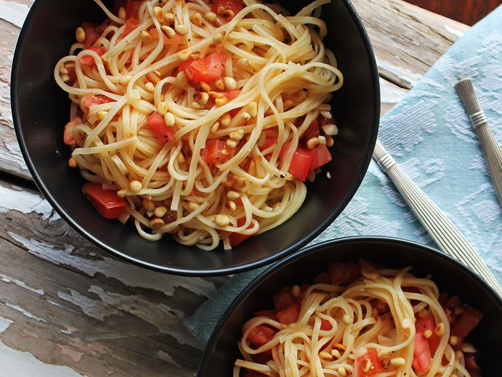 Tagliolini with Fresh Tomatoes & Toasted Pine Nuts