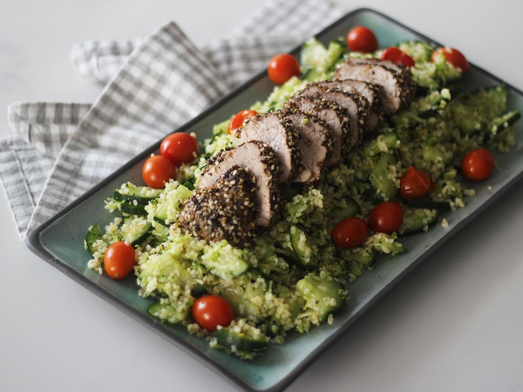 Solo: Dukkah Pork Fillet with Broccoli Tabbouleh
