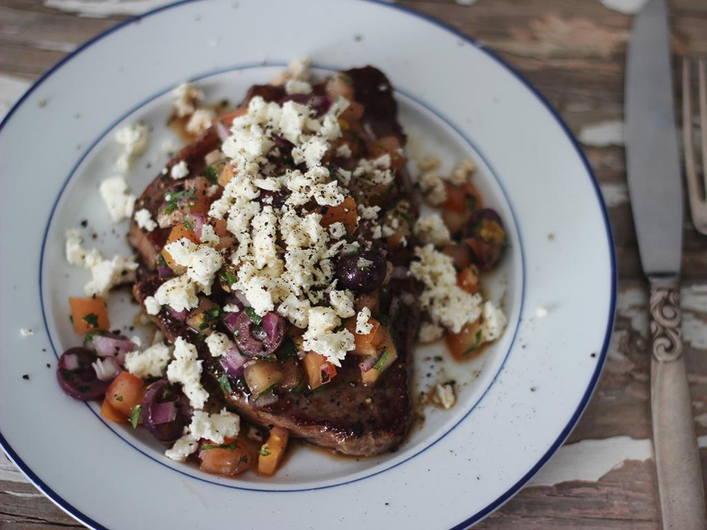 Steak with Greek Relish