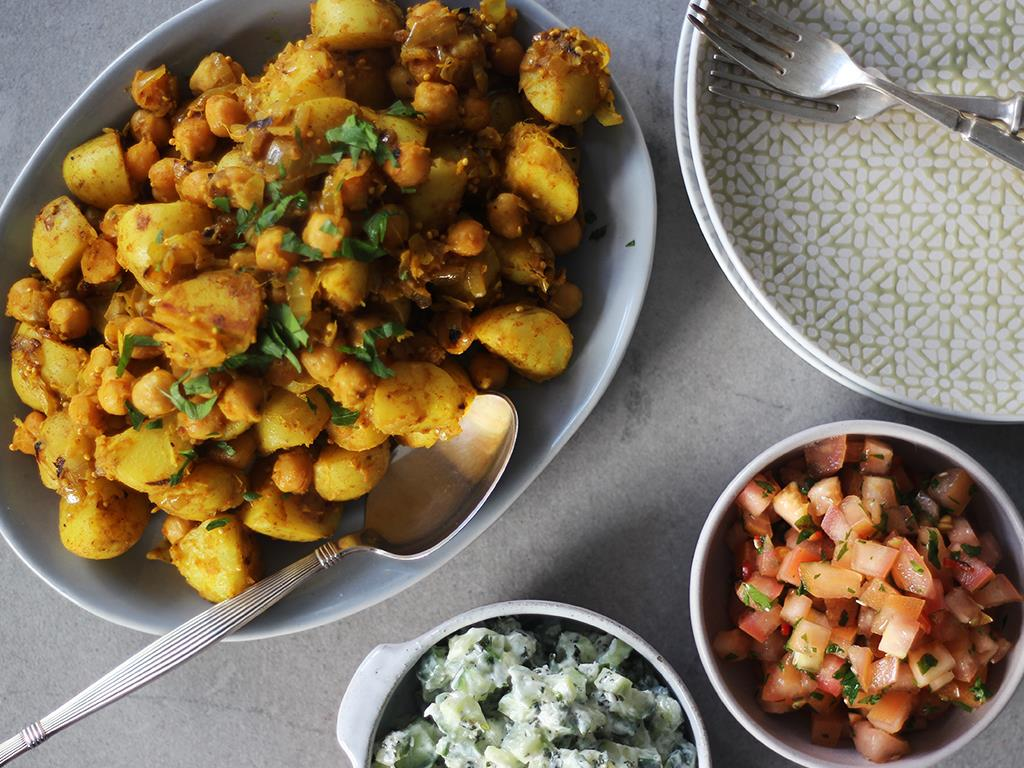 Indian Potatoes, Coconut Raita & Tomato Salsa