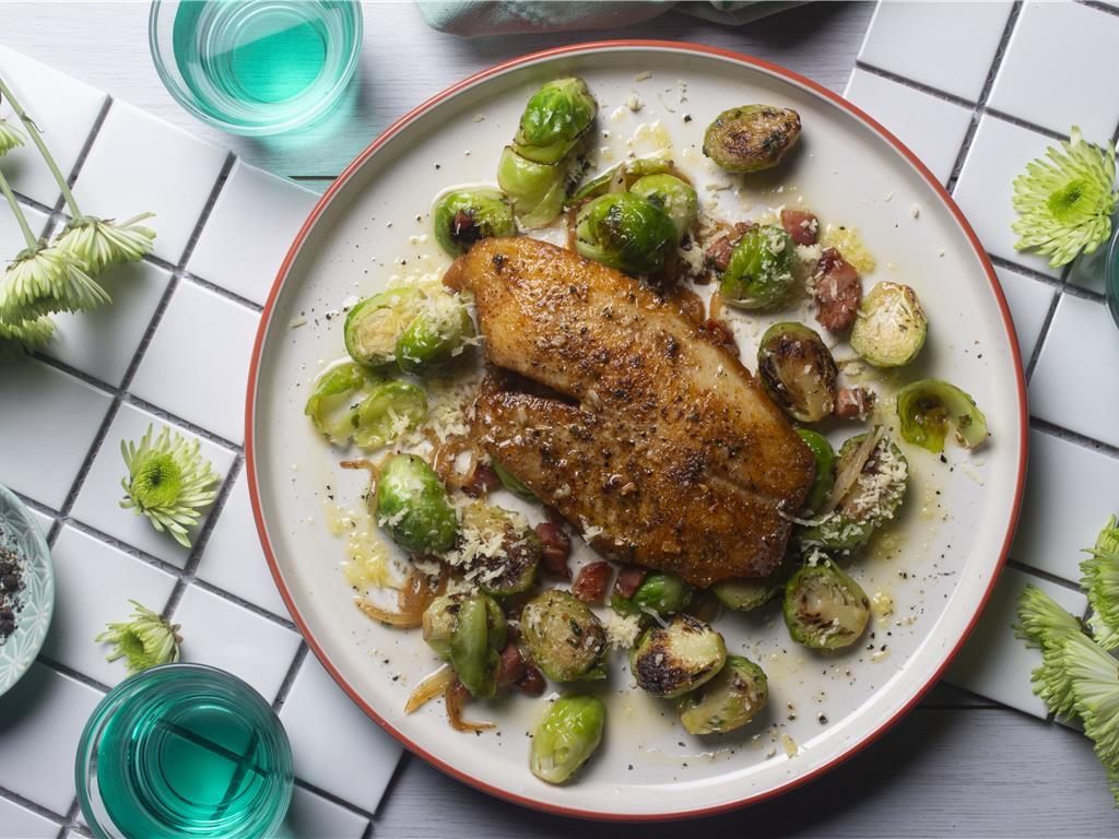 Seared Basa with Brussels Hash
