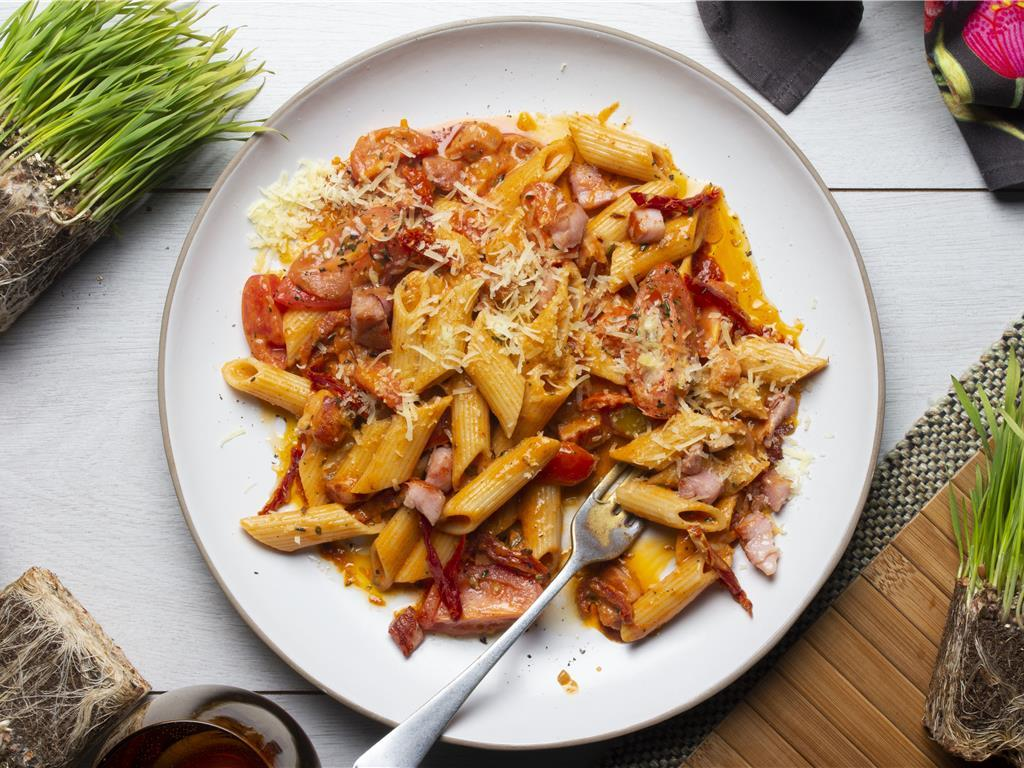 Bacon and Blushed Tomato Penne