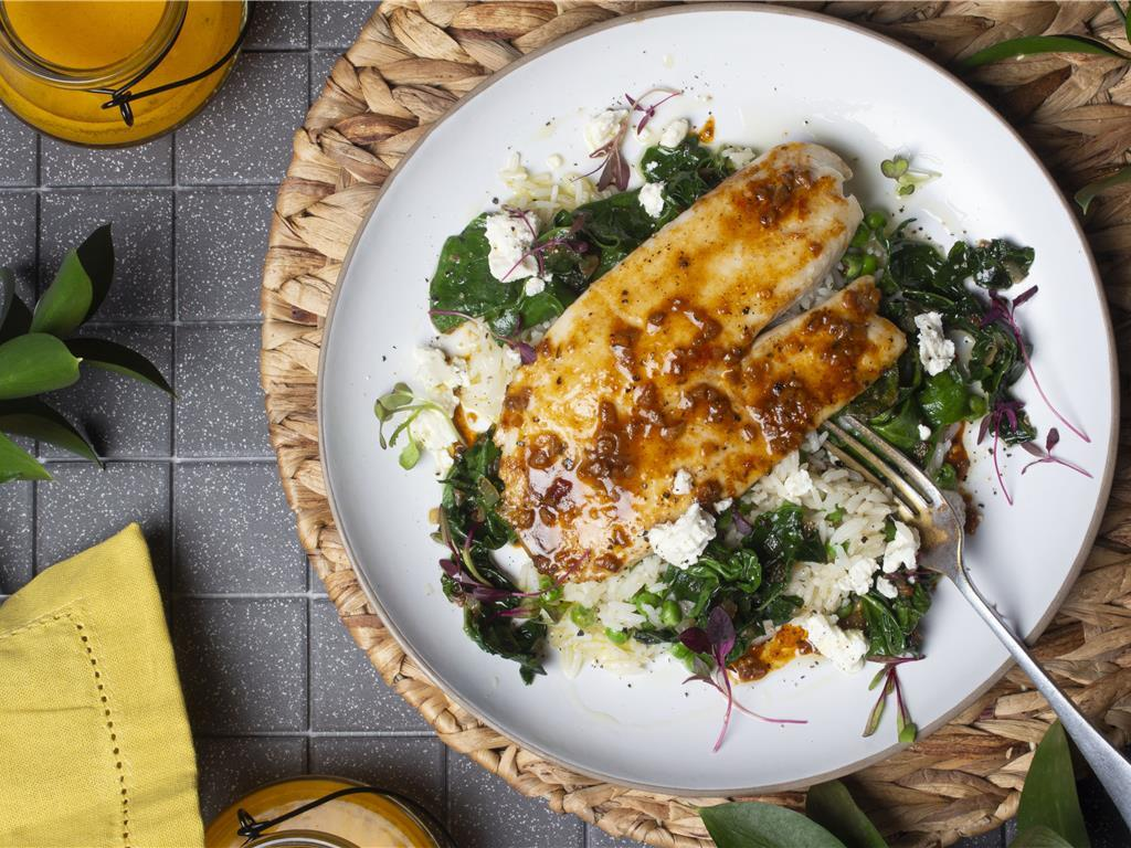New Orleans BBQ Basa and Butter Spinach Rice