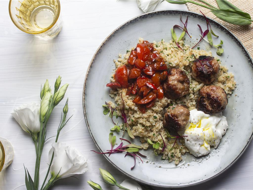 Spiced Kofta Balls with Spiced Pepper Salsa