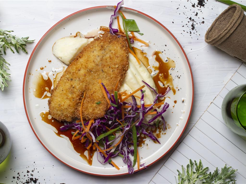 Crispy Crumbed Fish with Sesame Teriyaki Slaw