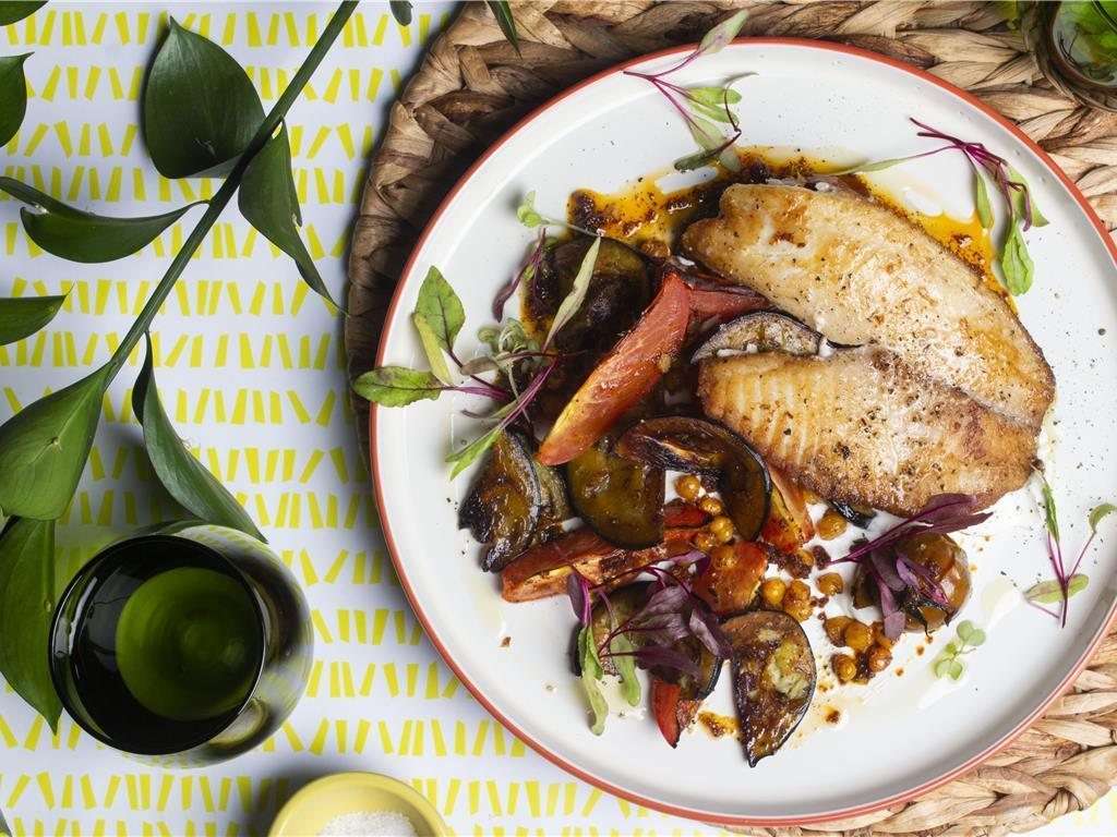Solo: Basa with Blistered Toms and Aubergine