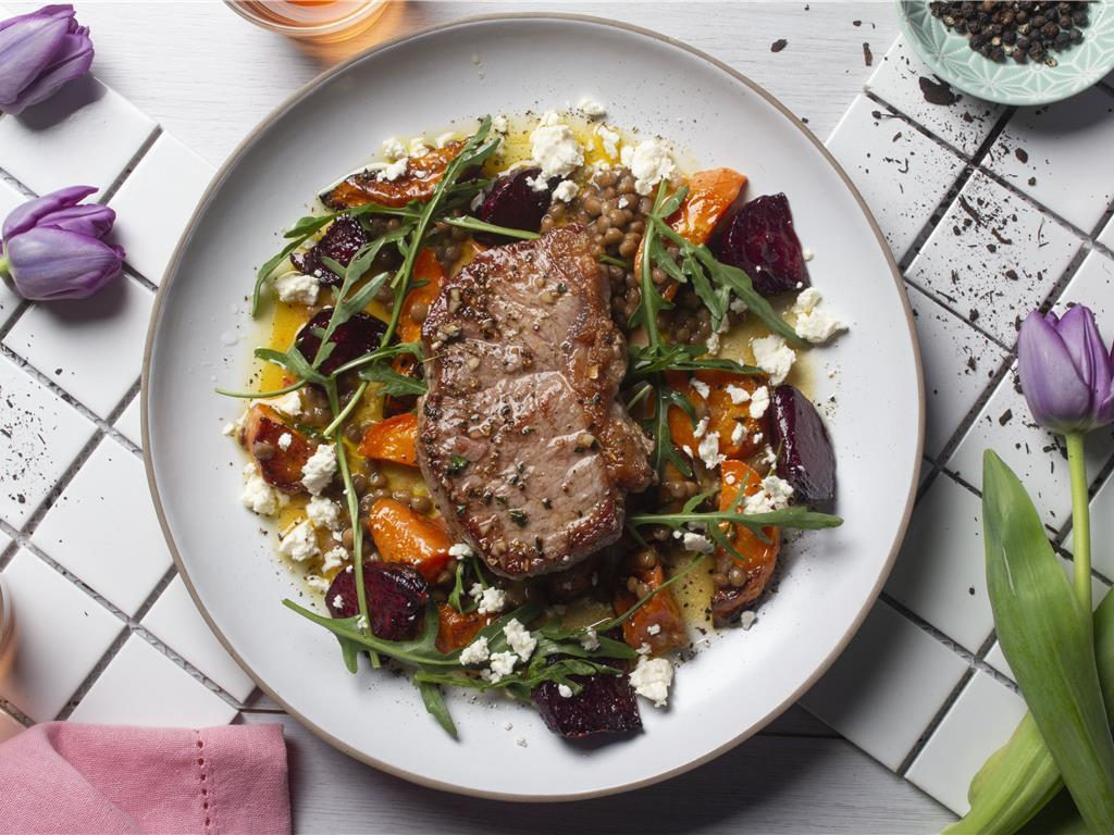 Steak with Beetroot, Almonds and Carrots
