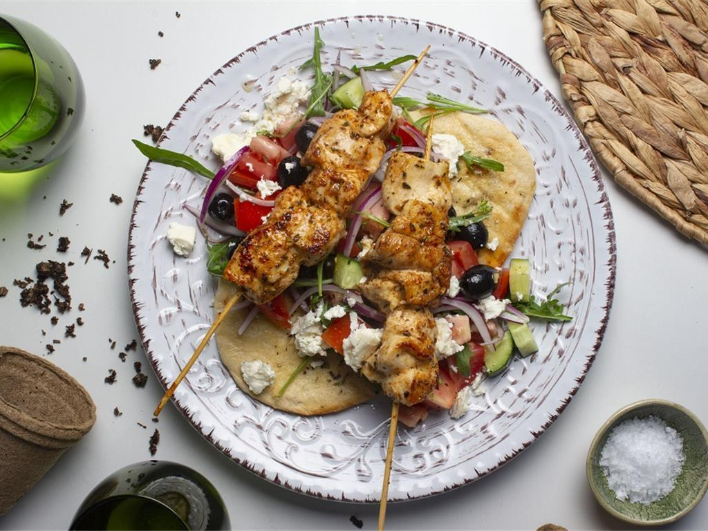 Garlic and Herb Chicken Souvlaki with Crispy Greek
