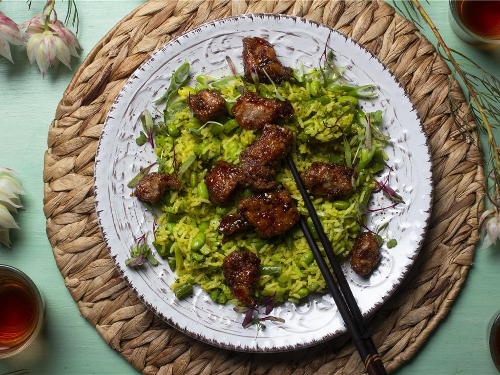 Sweet Pork with Green Rice
