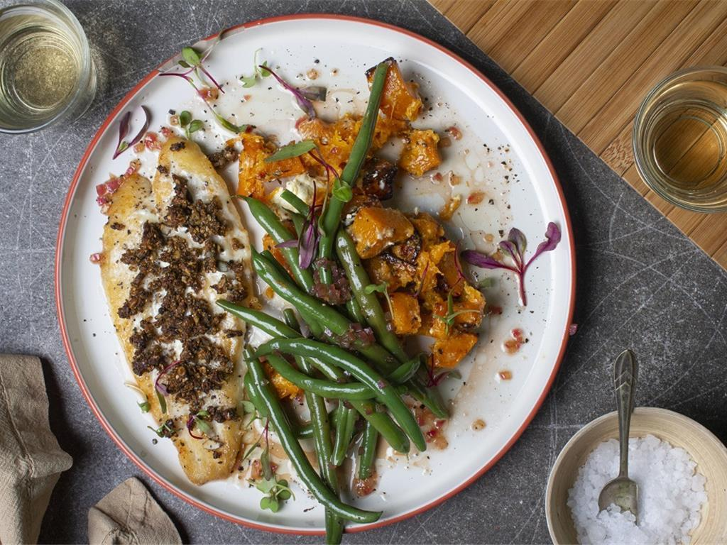 Nutty Crust Basa with Creamy Chive Squash
