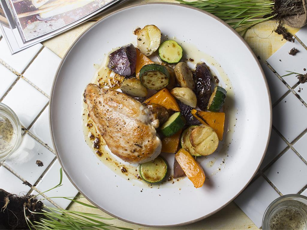 Honey Mustard Chicken and Roast Veggies