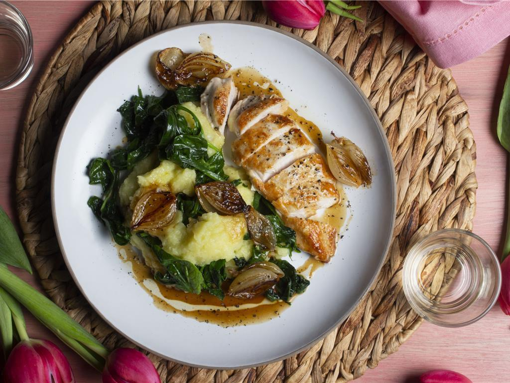 Chicken Agrodolce with Mashed Greens