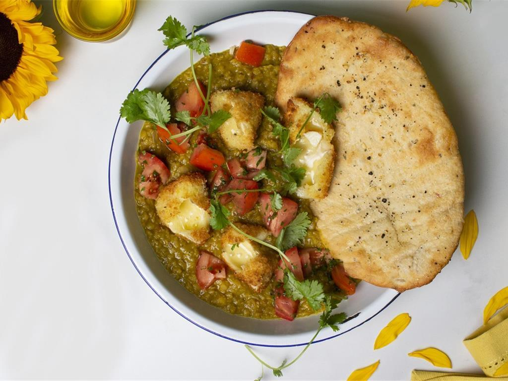 Red Dhal with Crispy Camembert