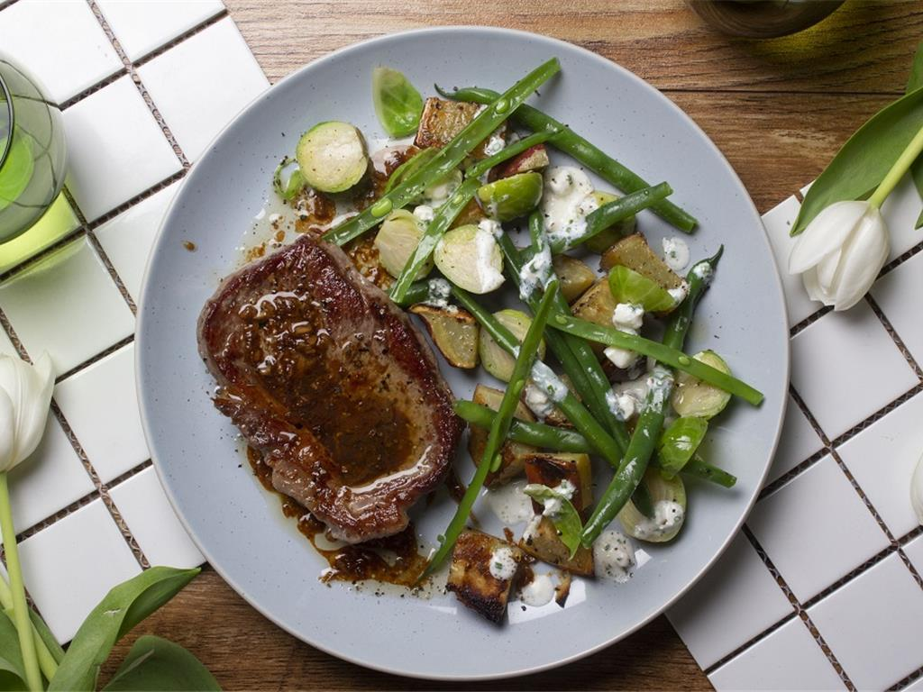 Steak with Ginger Butter and Chunky Cottage