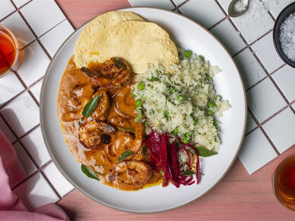 Solo: Butter Prawn Masala with Green Rice
