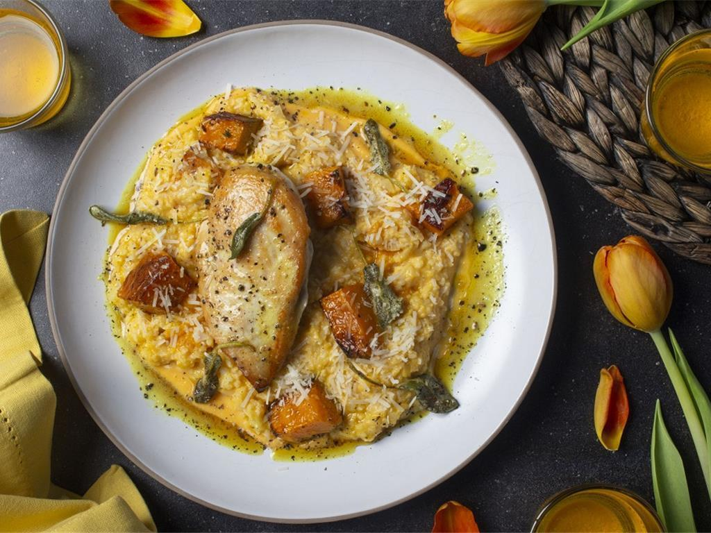 Chonk Chicken with Squash Risotto
