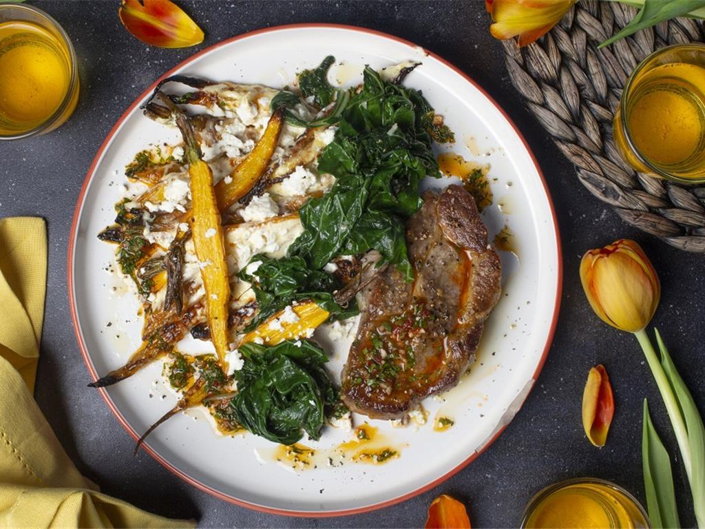 Herbed Pork with Carrot and Feta