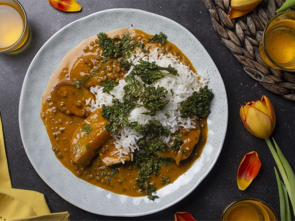Roasted Sweet Potato Curry with Kale Chips