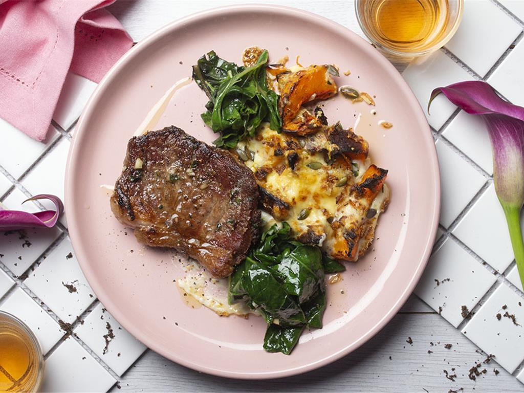 Steak with Nutty Butternut Gratin