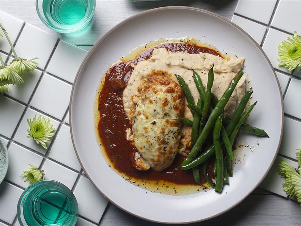 Chicken and Olive Parm with Creamy Bean Mash