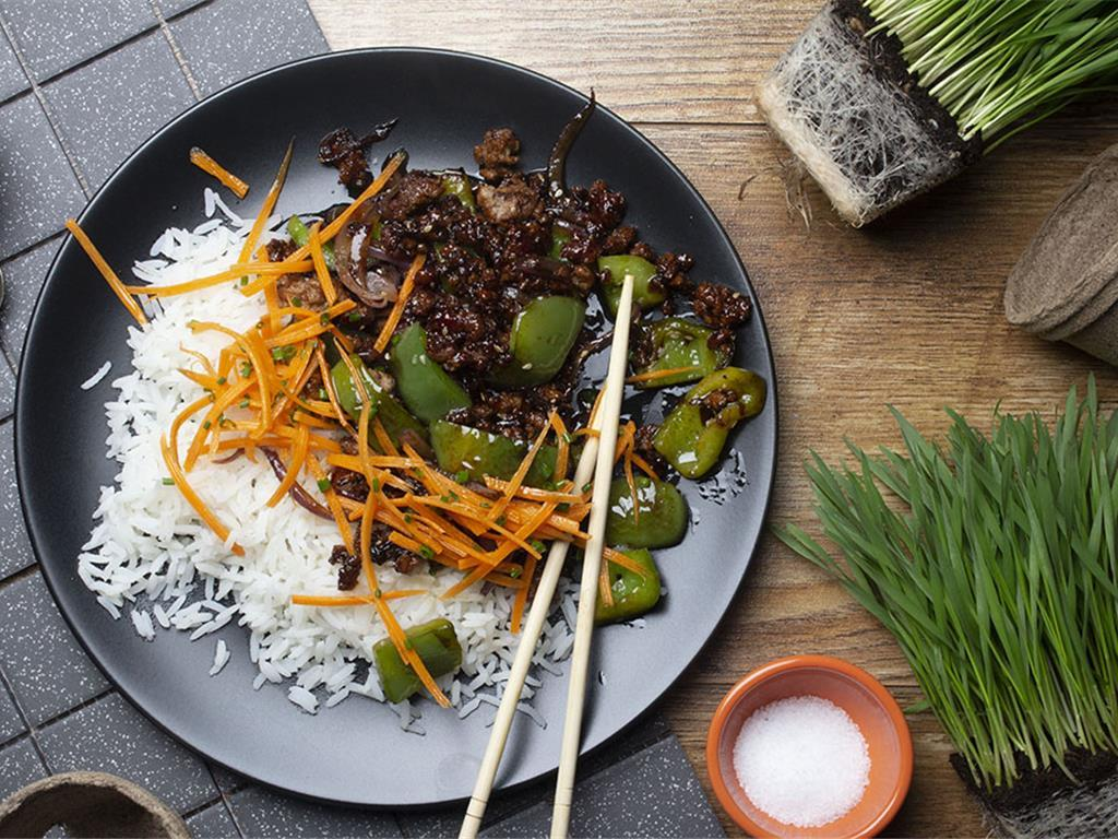 Korean Sticky Beef and Green Pepper Stir Fry
