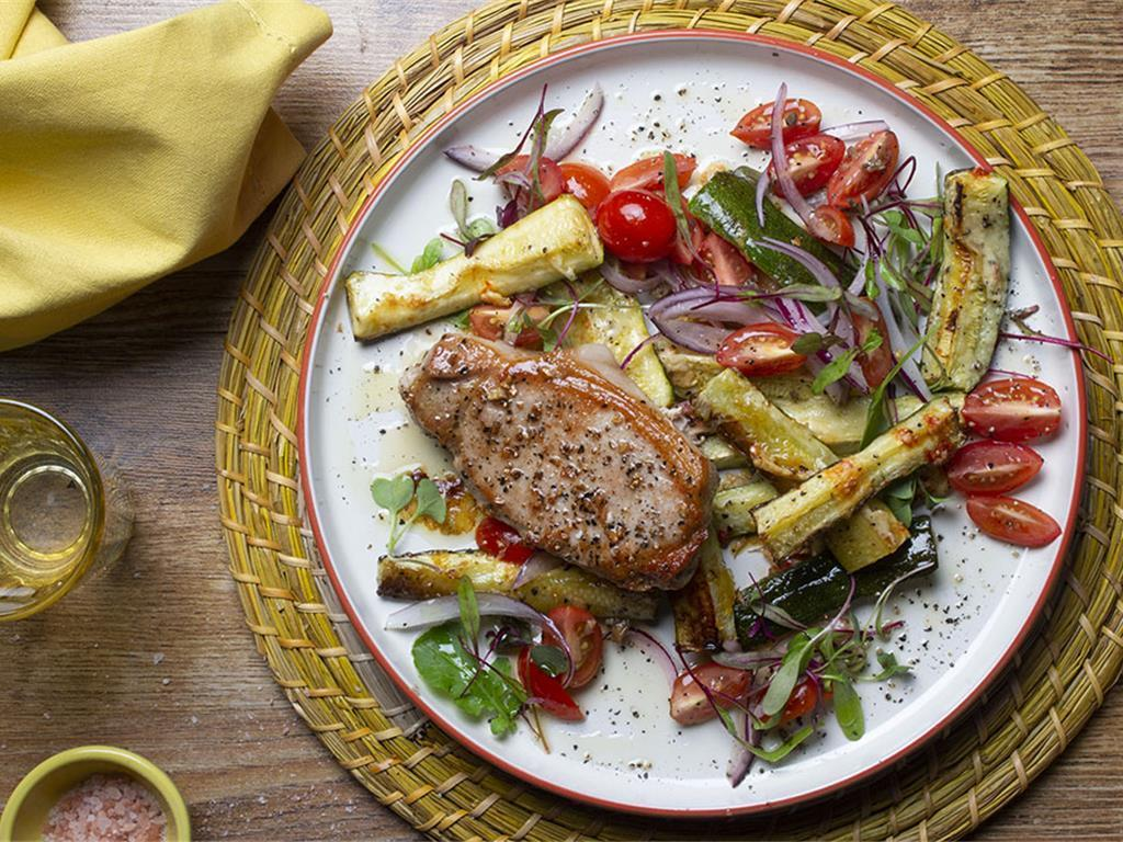 Grilled Pork and Parmesan Courgettes