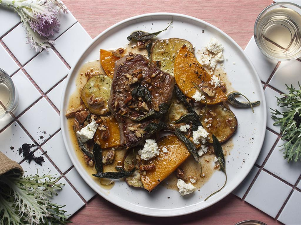 Steak with Pecan Butter & Butternut Roundels
