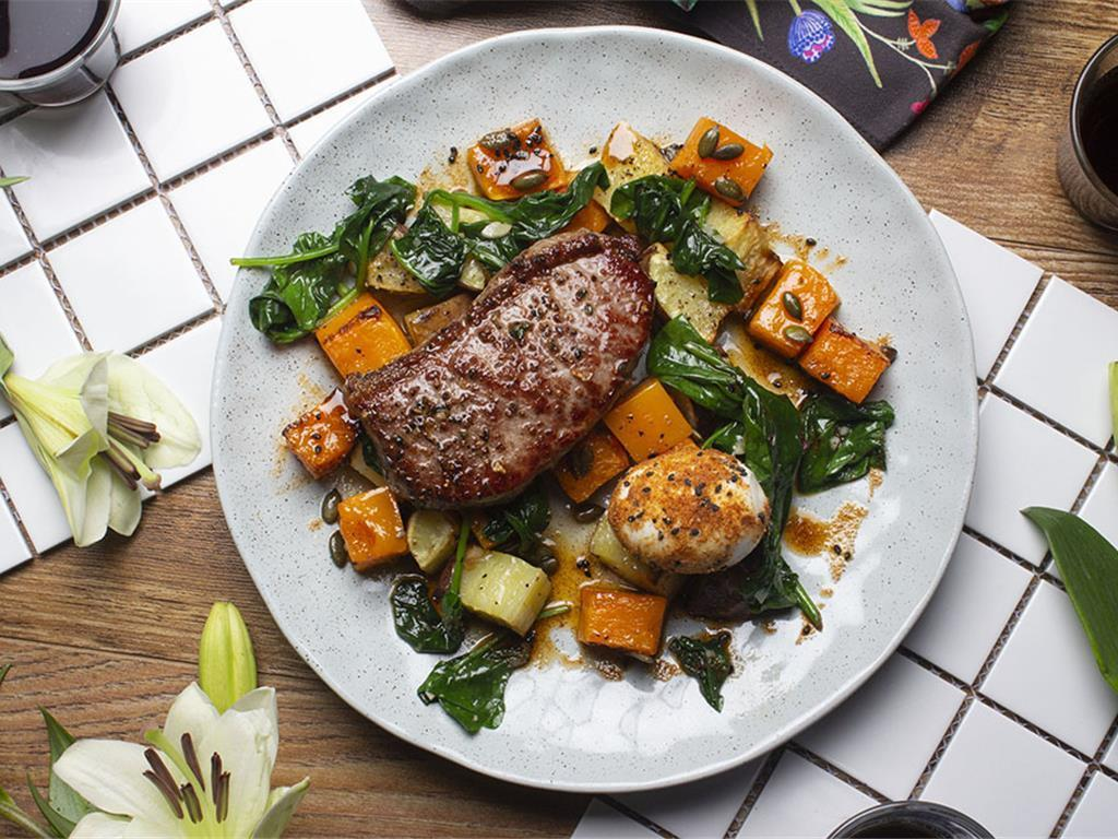 Steak with Butternut Hash and Seeded Eggs