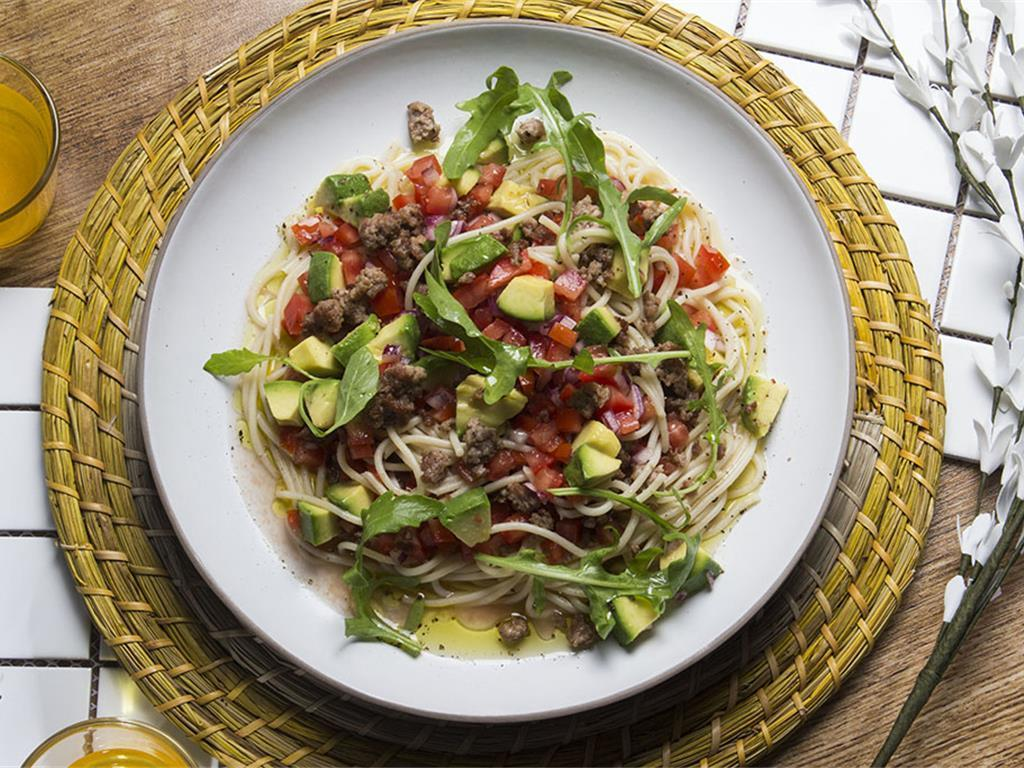 Crispy Beef, Lemon and Avocado Spaghetti