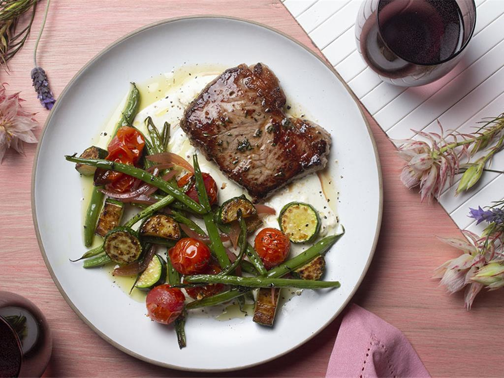 Seared Steak with Herby Mustard Veg and Simonzola