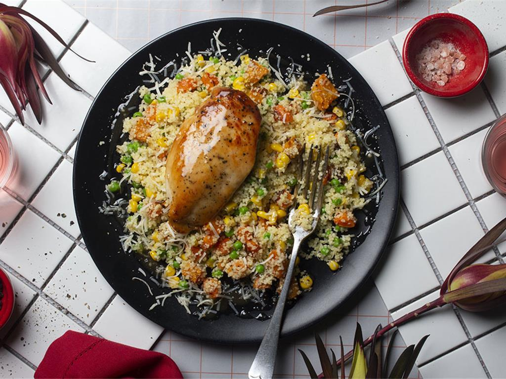 Glazed Chicken with Roast Vegetable Couscous