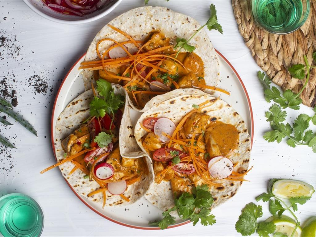 Butter Chicken and Carrot Pickle Taco for 2