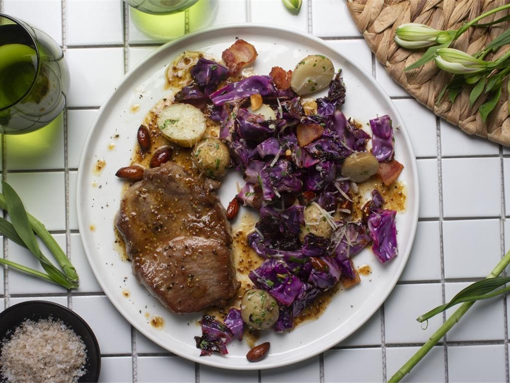Grilled Pork with Red Cabbage Gremolata
