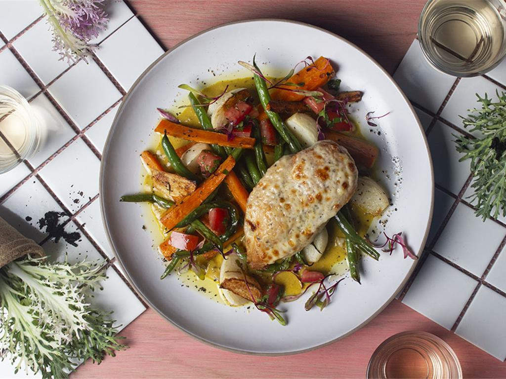 Cheesy Chicken with Curried Root Vegetables