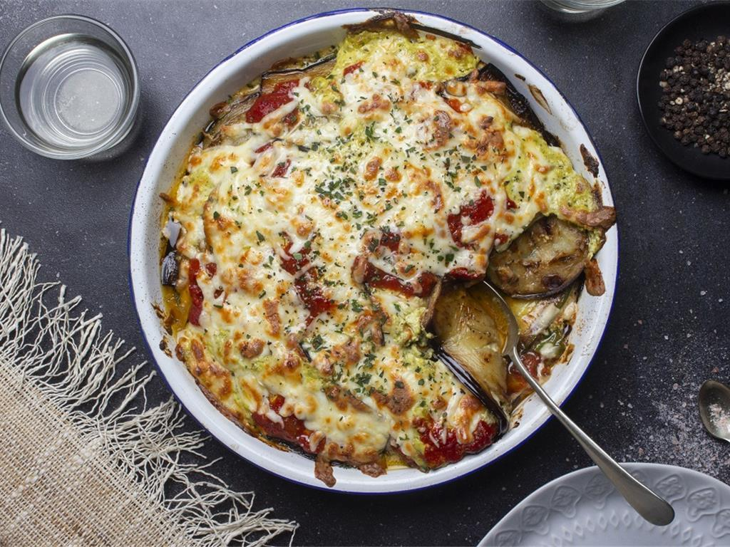 Aub and Sour Cream Pesto Lasagne