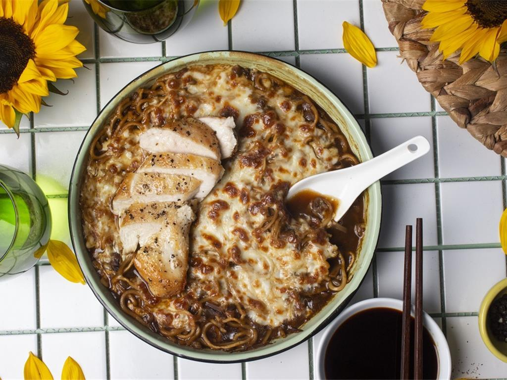 Grilled Chicken and French Onion Ramen