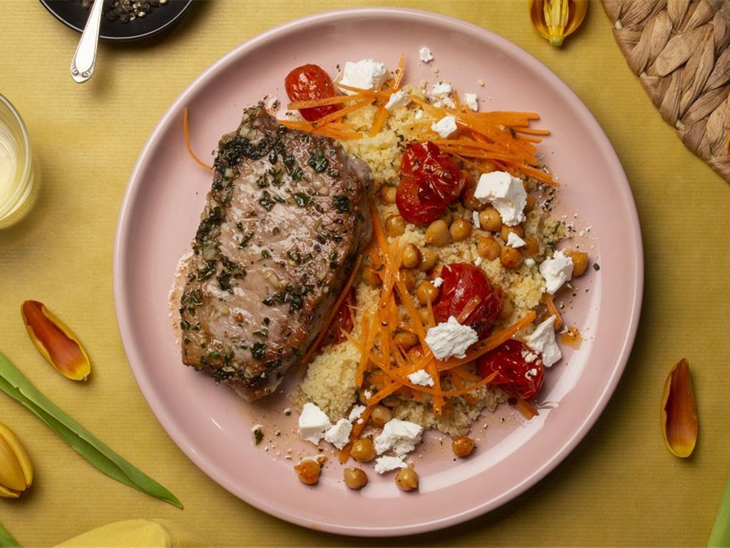 Middle Eastern Beef with Carrot Couscous