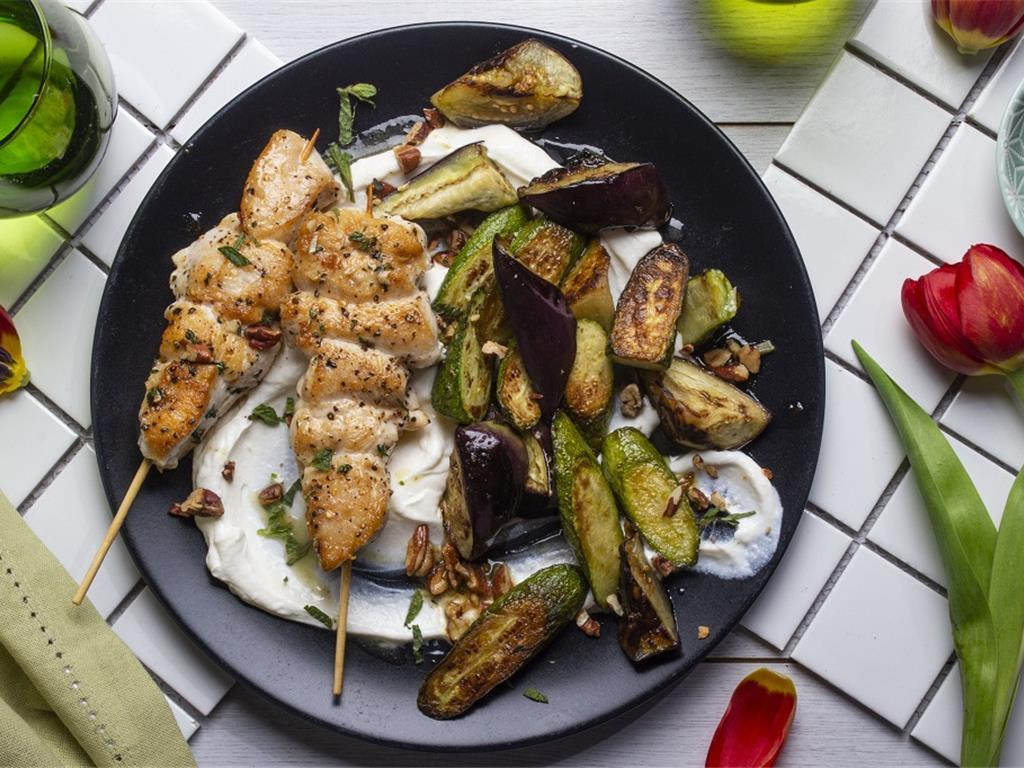 Chicken Kebabs with Marinated Courgettes