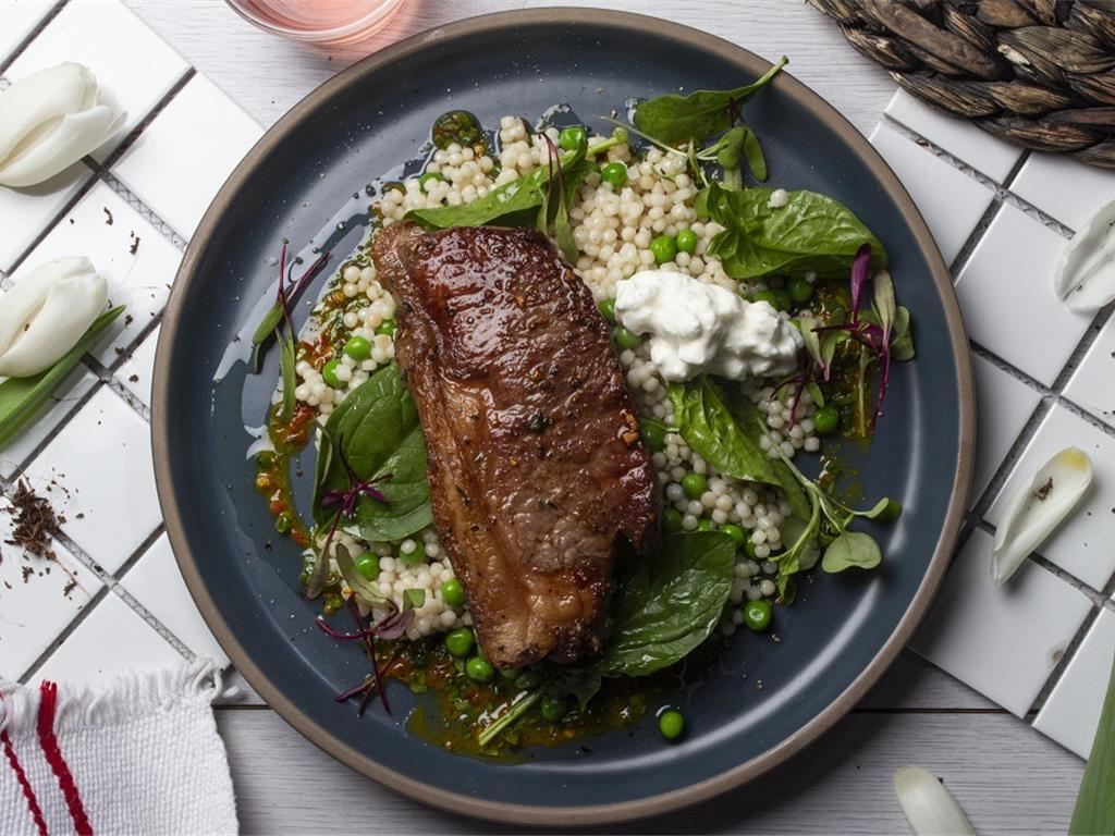 Aged Beef with Pea and Greens Millet